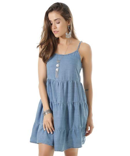 Vestido Jeans Azul Médio