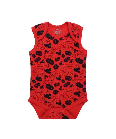 Body Estampado Mickey em Algodão + Sustentável Vermelho