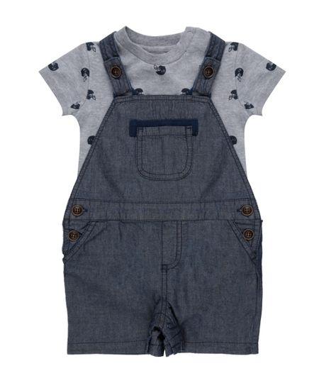 Conjunto de Jardineira Jeans + Body Estampado Cinza