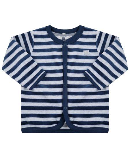 Cardigan Listrado em Plush de Algodão + Sustentável Azul Marinho