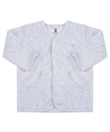 Cardigan Unissex em Plush de Algodão + Sustentável Cinza Mescla