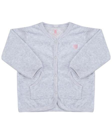 Cardigan em Plush de Algodão + Sustentável Cinza Mescla