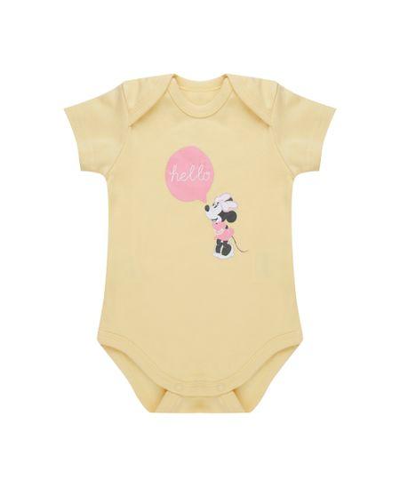 Body Minnie em Algodão + Sustentável Amarelo
