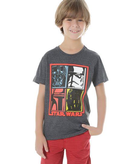 Camiseta Star Wars Cinza Mescla Escuro