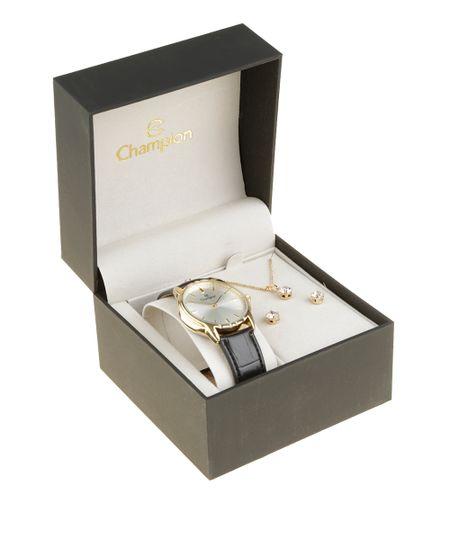 Kit de Relógio Analógico Champion Feminino + Colar + Brinco - CH22519S-W Dourado