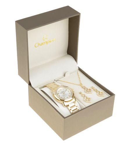 Kit de Relógio Analógico Champion Feminino + Colar + Brinco - CN28660H-W Dourado