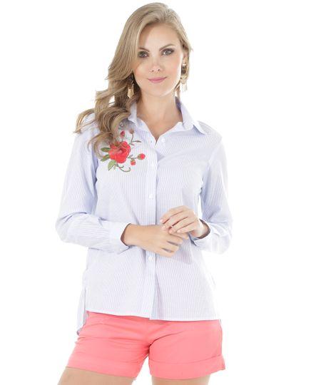 Camisa Listrada com Bordado Azul Claro