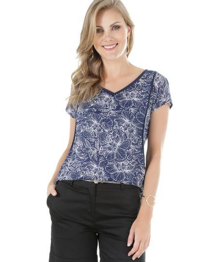 Blusa Estampada Floral Azul Marinho