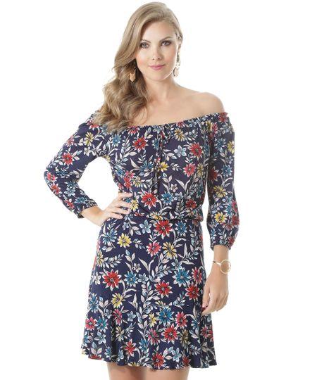 Vestido Ombro a Ombro Estampado Floral Azul Marinho