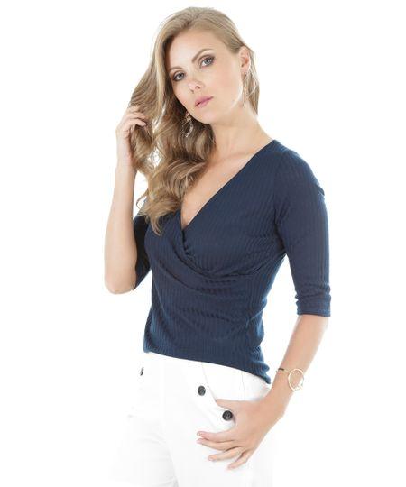 Blusa Canelada Azul Marinho