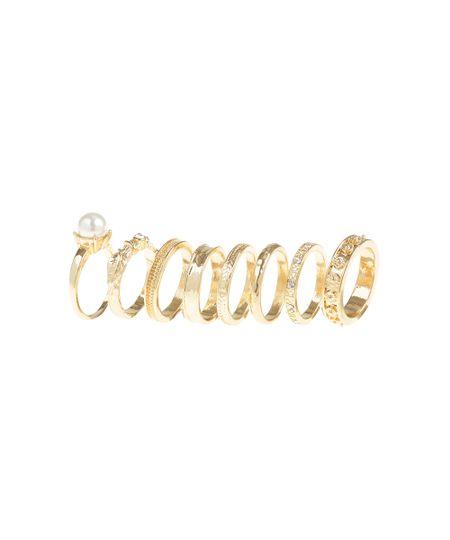 Kit de 8 Anéis Dourado