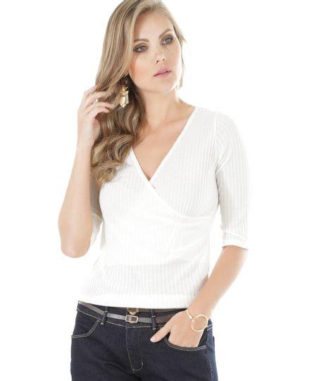 Blusa Canelada Off White