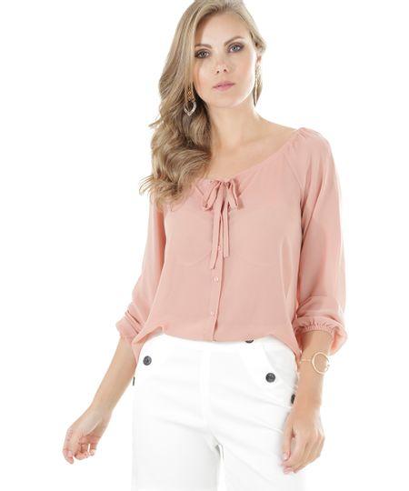 Camisa com Laço Rosa