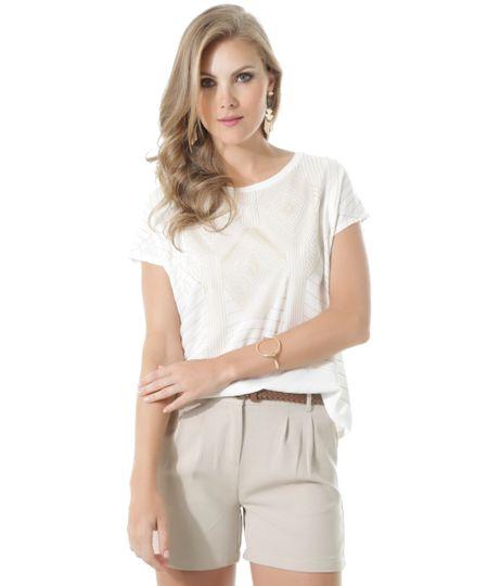Blusa com Estampa Geométrica Off White