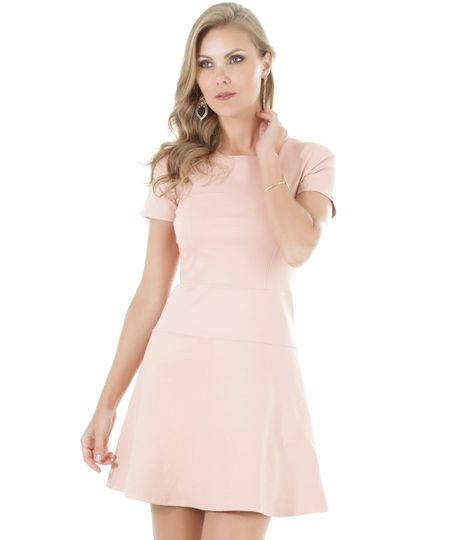 Vestido com Recortes Rosa Claro