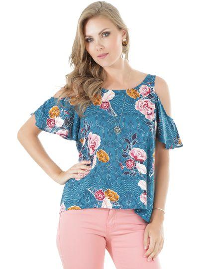Blusa Open Shoulder Estampada Floral Azul Petróleo