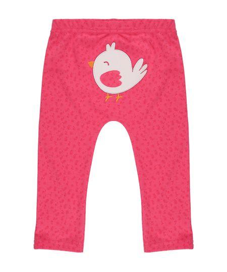 Calça Estampada Pássaro em Algodão + Sustentável Pink
