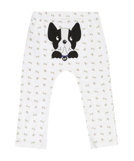 Calça Estampada Cachorro em Algodão + Sustentável Off White