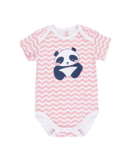 Body Estampado Panda em Algodão + Sustentável Rosa