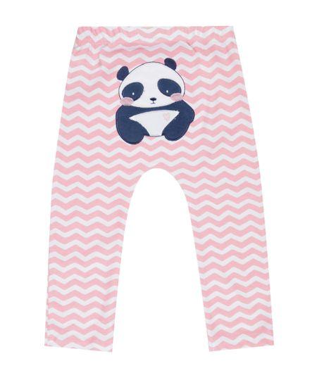 Calça Estampada Panda em Algodão + Sustentável Rosa