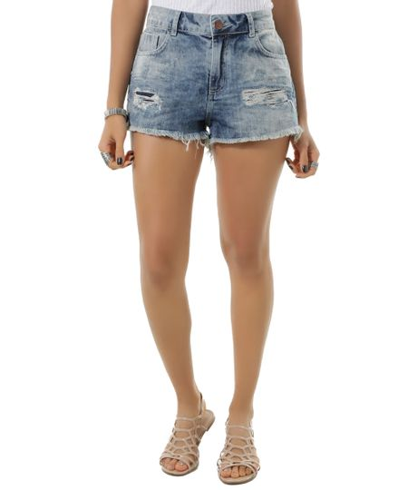 Short Jeans Relaxed Azul Médio