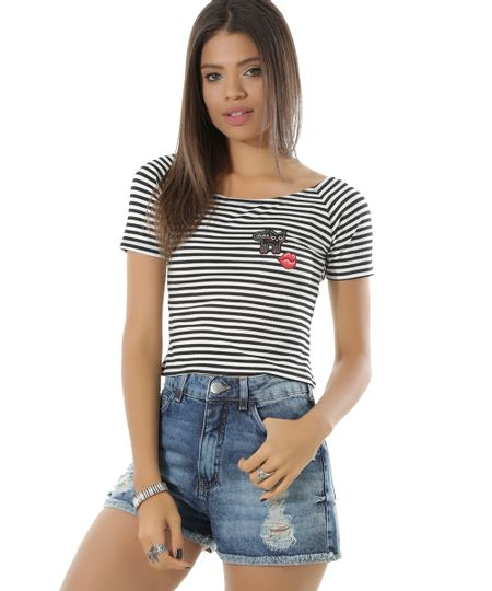 Blusa Cropped Listrada com Patch Off White