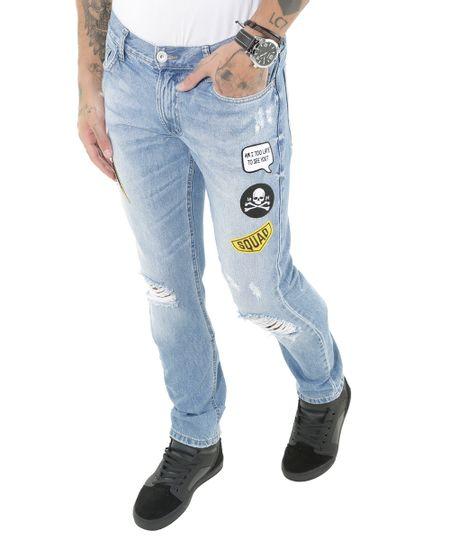 Calça Jeans Slim com Patchs Azul Médio