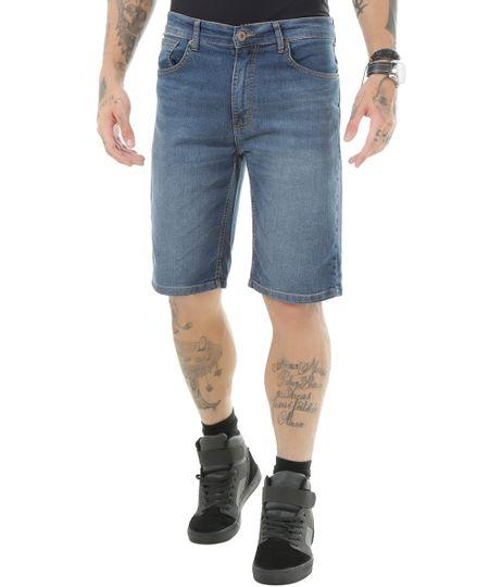 Bermuda Jeans Reta Azul Médio