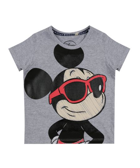 Camiseta Mickey Cinza Mescla