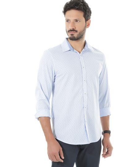 Camisa Slim Listrada Azul Claro