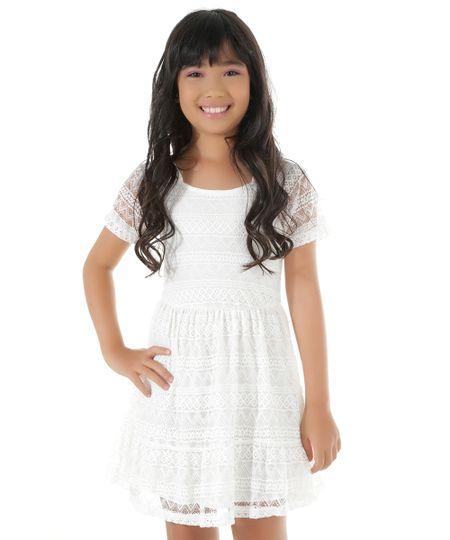 Vestido Open Shoulder em Renda Off White