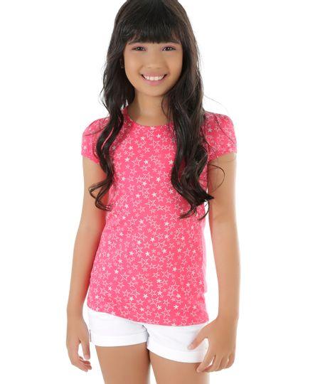 Blusa Estampada de Estrelas Rosa