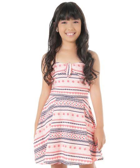Vestido Estampado Étnico Rosa Claro