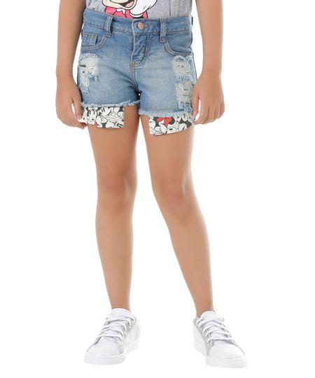 Short Jeans Minnie Azul Médio