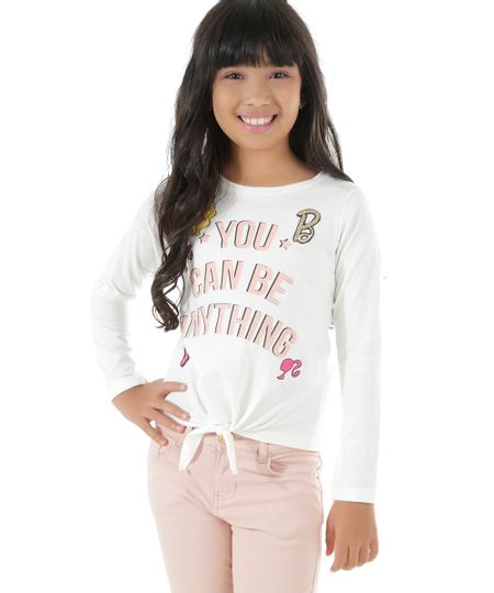 Blusa Barbie com Patch Off White