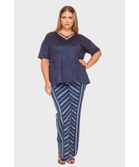 Calça Pantalona Jacquard Plus Size