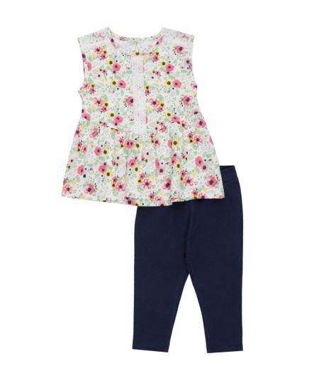 Conjunto de Regata Estampada Floral Off White + Calça Legging Azul Marinho