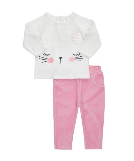 Conjunto de Blusa Branca + Calça em Plush de Algodão + Sustentável Rosa