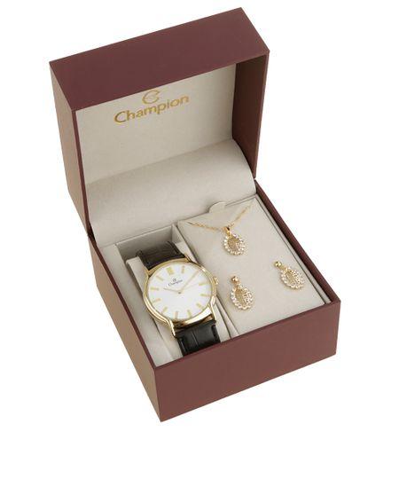 Kit de Relógio Champion Feminino Analógico + Colar + Brinco - CH22680M-W Dourado