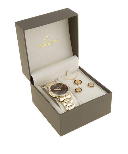 Kit de Relógio Champion Feminino Analógico + Colar + Brinco - CN29301N-W Dourado