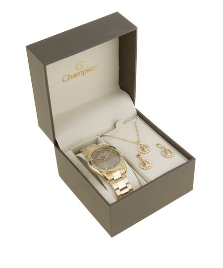 Kit de Relógio Champion Feminino Analógico + Colar + Brinco - CN29525C-W Dourado