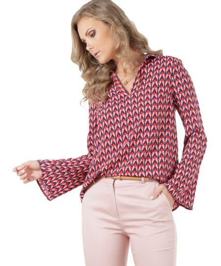 Blusa Estampada Geométrica Vermelha