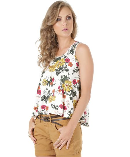 Regata Estampa Floral Off White