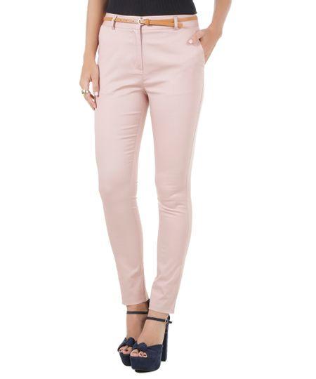 Calça Skinny com Cinto Rosa Claro