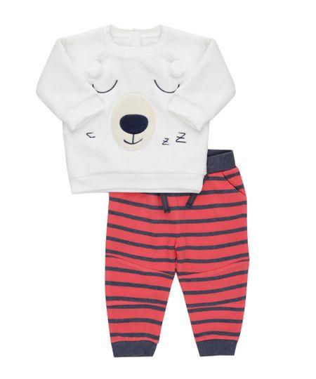 Conjunto de Blusão em Plush Branco + Calça em Moletom Vermelha