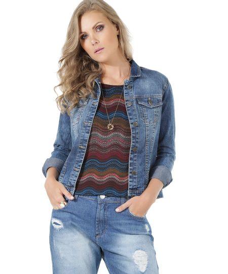 Jaqueta Jeans Azul Médio
