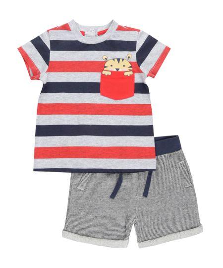Conjunto de Camiseta Cinza + Bermuda em Moletom Cinza Mescla
