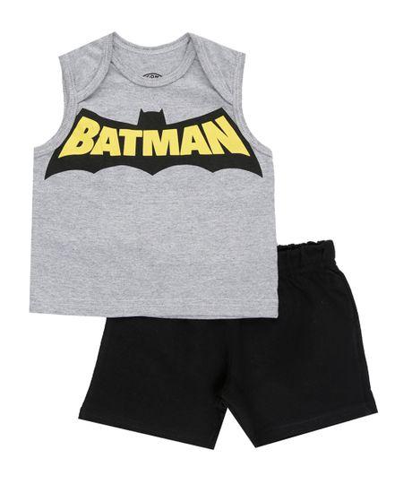 Conjunto Batman de Regata Cinza + Bermuda Preta