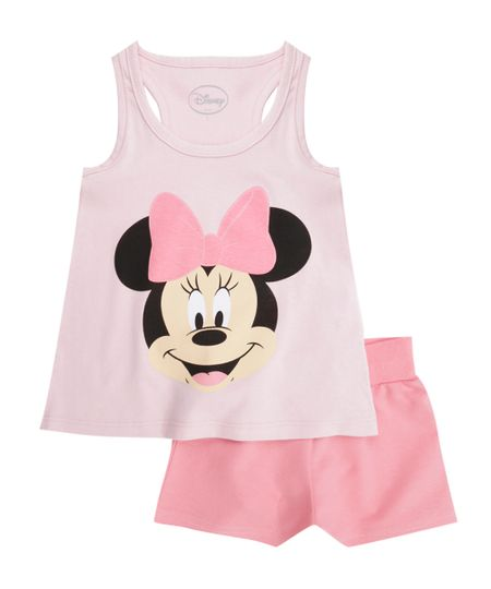 Conjunto de Regata + Short Minnie Rosa Claro