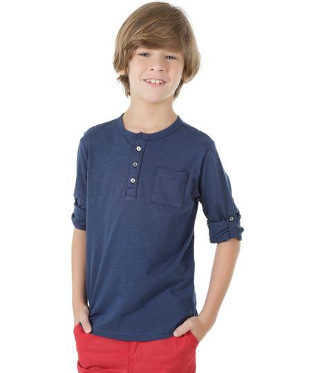 Camiseta Básica Flamê Azul Marinho